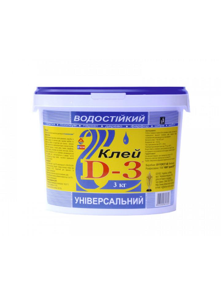 Клей  винил-ацетатный ІРКОМ ПВА D3 FINNDISP столярный 3кг бесцветный
