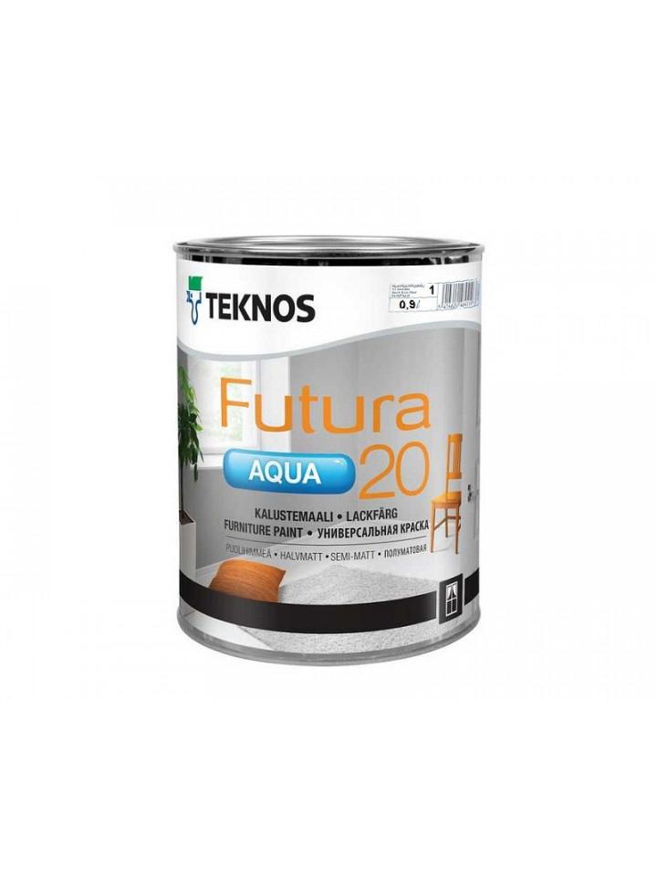 Краска уретан-алкидная TEKNOS FUTURA AQUA 20 водоразбавляемая 0,9л белый (база 1)