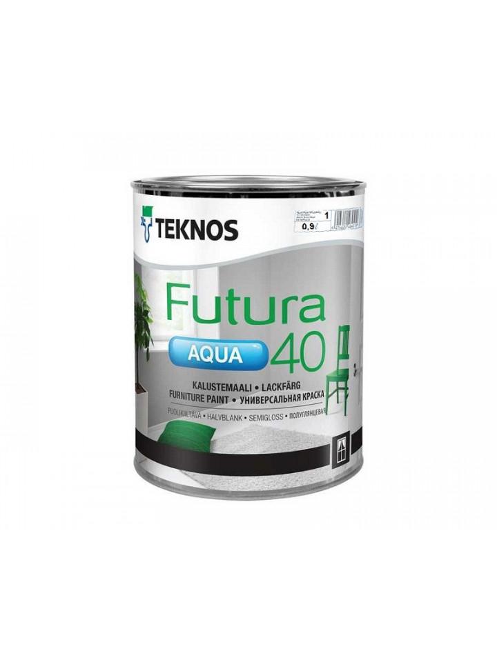 Краска уретан-алкидная TEKNOS FUTURA AQUA 40 водоразбавляемая 0,9л белый (база 1)